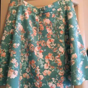 Dresses & Skirts - Aqua floral skater skirt